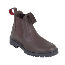 GROSBY RUSTLE KIDS/YOUTHS SHOES/ELASTIC BOOTS/SCHOOL/PULL ON BROWN LEATHER