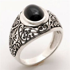 Mans Onyx Ring Made in USA Solid Sterling Finest Quality Antique Style # MS 73