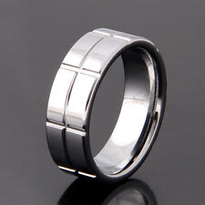 8mm Men Tungsten Carbide  Polished Grooved Band / Wedding Ring Size 5-13 (091)