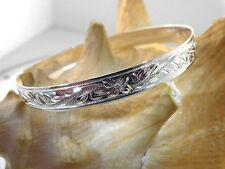 8MM BM STERLING SILVER HAWAIIAN HERITAGE SCROLLS WITH PLUMERIA BANGLE #1