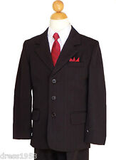 BOYS PINSTRIPES, WEDDING,RECITAL, GRADUATION SUIT SET, BLACK/WHITE, Sz: 5 to 20