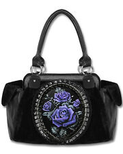Restyle Black Purple Deadly Rose Skull Hologram Cameo Velvet Gothic Handbag Bag