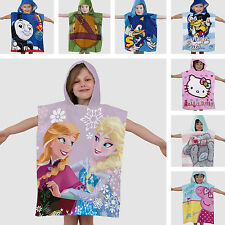 Hooded Poncho Beach Bath Towel Kids Children's Boys Girls Blue Pink 100% Cotton