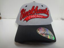 Chicago Blackhawks Cap Zephyr Stretch Gray Swoop Fitted Hat NHL