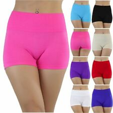 Women's Stretchy Nylon Ribbed Pull-On High-Rise Mini Slimming Shaping Shorts