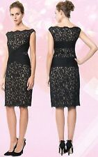 $328 Tadashi Shoji Illusion Lace Pintuck Pleated Bodice Sleeveless Sheath Dress