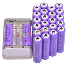 24x AA 2A Purple Color 1.2V Ni-MH 3000mAh Rechargeable Battery + Charger