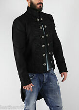 TAILCOAT BLACK COTTON MENS embroidered OUTFIT VINTAGE WEDDING DRESS ST7