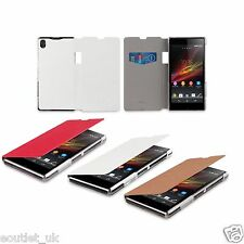 Genuine Roxfit Book Case Flip Cover Wallet For Sony Xperia Z1 Tan Red White