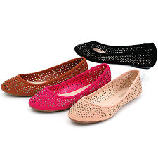 Womens Ballet Flats Perforated Rhinestone Embellished Spring Shoes Round Toe NEW