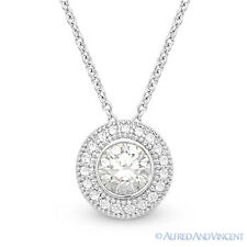 Round Brilliant Cut Micro-Pave CZ Crystal 9.5mm Halo 925 Sterling Silver Pendant