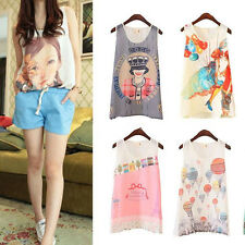 Hot Womens Girl Chiffon Printed Vest Tank Top Sleeveless T-Shirt Blouse 8 Styles