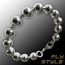 8mm LuXuS DESIGNER STAINLESS STEEL BALL CHAIN BRACELET silver fashion jewelry v8