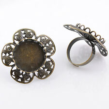 Upick 5/10/20pcs Bronze Adjustable Setting Flower Rings 35mm (inner 25mm) E810