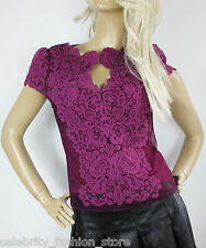 Karen Millen Magenta Heavy Cotton Lace & Mesh Cap Sleeved Blouse Party Top 12 40