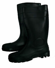 "Men's 16"" Black Rubber Steel Toe Rain / Work Boots"