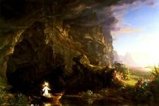 THE VOYAGE OF LIFE CHILDHOOD STAGES OF HUMAN LIFE PAINTING BY THOMAS COLE REPRO
