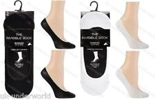 6 OR 12 PAIRS MENS WOMENS SOCK SHOP INVISIBLE TRAINER SOCKS LINERS WHITE/BLACK