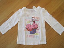 Toddler girl ITS MY BIRTHDAY CUPCAKE CANDLE CHERRY WHITE TOPS SHIRTS NWT 3T 4T