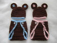 2-Pc Crocheted BEAR Diaper Cover and Hat set in 3 sizes=Micro, Preemie, Newborn
