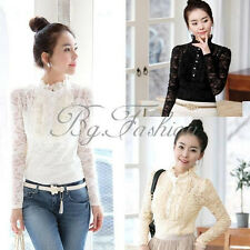 5 Sizes Elegant Women Lace Floral Blouse Stand Collar High Neck Tops OL Shirt