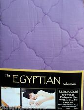 PURPLE FITTED EGYPTIAN COTTON QUILTED BEDSPREAD PILLOWSHAM DOUBLE KING SUPERKING