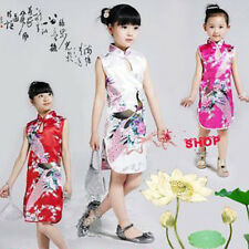 Chinese Kid Child Girl Baby Peacock Cheongsam Dress Qipao 1-8 Years Hot style