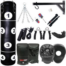 15 PC Punch Bags Set Punching Boxing Sets Heavy Duty Punchbags Kick MMA Gym