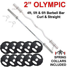 Olympic Barbell Weights Disc Plates Sets Weightlifting Powerlifting Fitness Gym