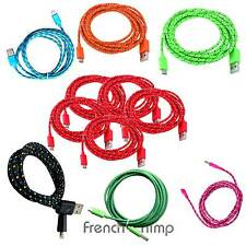 6Ft Braided Micro USB To USB Data Sync Chargering Cable For Galaxy S3 S4 5 Pack