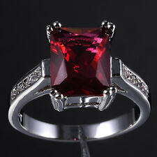 Size 6-9 Jewelry Ladys Red CZ Stone Solitaire 10KT White Gold Filled Ring
