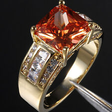 Size 9-13 Deluxe Men's Jewelry Orange Topaz 10KT Yellow Gold Filled Huge Ring