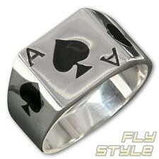 STAINLESS STEEL ACE OF SPADE RING PIK ASS poker gambling silver jewelry deck