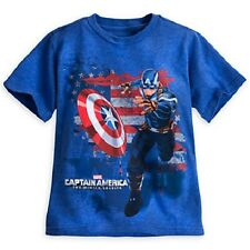 CAPTAIN AMERICA~THE WINTER SOLDIER~Boys~Tee Shirt~Shield~NWT~Disney Store~STAMP