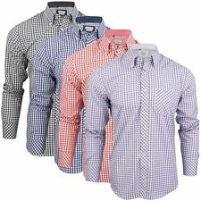 Mens Long Sleeve Gingham Check Shirt Button Down Collar Slim Fit By Xact