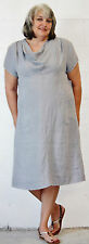 MOSAIC USA 720 Midweight Linen COWL NECK DRESS Long w/Pockets S M L XL  PLATINUM
