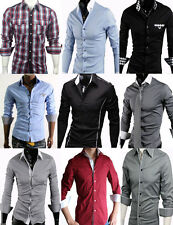 Da Uomo Elegante Casual Slim Dress Shirts UK Taglia S-XXL