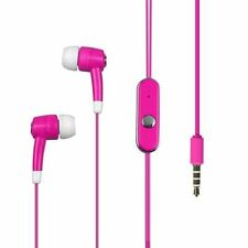 HR Pink Earbud Earphones Hands Free Microphone 3.5mm Jack For HTC Cell Phones