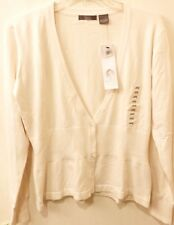 KERSH SWEATER OFF WHITE IVORY 3 BUTTON DOWN TOP LADIES NEW S / M / L