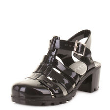Womens Ladies Black Fisherman Jelly Gladiator Sandals Shoes Size 3-8