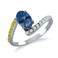 1.19 Ct Oval Royal Blue Mystic Topaz Canary Diamond 925 Sterling Silver Ring