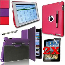 For Apple iPad 4, 3, 2  PU Leather Case Cover W/ Build-in 360 Rotating Stand NEW