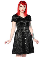 Banned Clothing Dress Black Gothic Steampunk VTG Victorian Flocked Ivy Cross