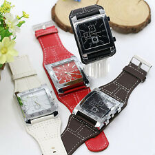 Practical Leather Band Unisex Men Women Square Dial Quartz Wrist Watch New BDBU