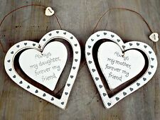 HANGING WHITE HEART PLAQUE SIGN DECORATION MUM DAUGHTER KITCHEN GIFT CHIC SHABBY
