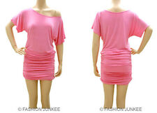 C3 PINK RUCHED OFF the shoulder DRESS Short Sleeve Jersey Tunic Top Band S M L