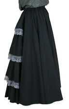 FRONTIER CLASSICS BLACK Victorian Poplin Bustle Skirt with Lace Trim Steampunk