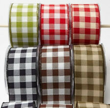 """May Arts 2 1/2"""" Wide Wired Checked Ribbon Polyester Sold By The Yard, New"""