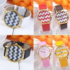 Casual Geneva Stripes PU Leather Watch Woman Man Analog Quartz Wrist Watches SH