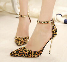 2014 Women's Sexy Metal Style Back Zip Point Toe High Heels Leopard Shoes a476